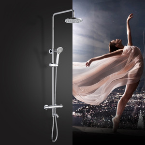 Contemporary Thermostatic Exposed Outdoor Shower Electroplated Brass