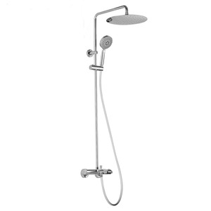 Modern Thermostatic Exposed Outdoor Shower Slim Chrome Brass