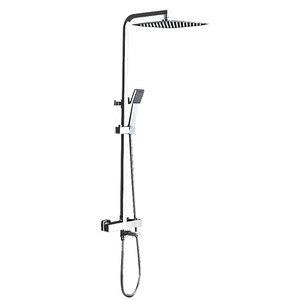 Chrome Slim Square Thermostatic Exposed Outdoor Shower Faucet