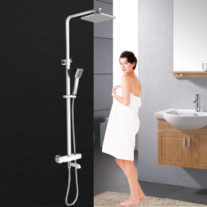 Square Electroplated Brass Thermostatic Exposed Outdoor Shower Faucet
