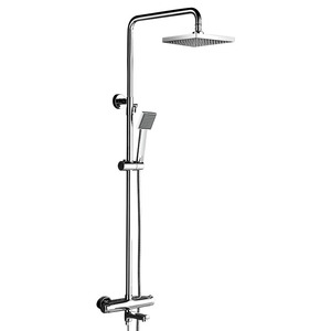 High End Square Thermostatic Exposed Shower Faucets Brass