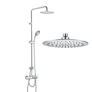 Chrome Brass Exposed Shower Faucet Sets Thermostatic Wall Mount