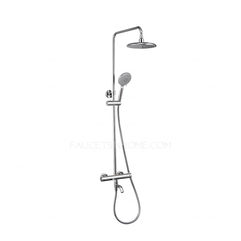 Perfect Chrome Brass Exposed Shower Faucet Set Thermostatic Wall Mount
