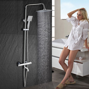 Square Electroplated Brass Thermostatic Exposed Shower Wall Mount