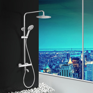 Modern Thermostatic Brass Chrome Exposed Shower Faucet