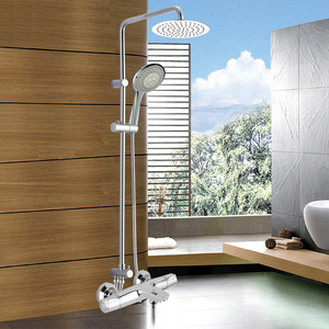 Modern Exposed Shower Faucets Brass Chrome Thermostatic Big Top Shower