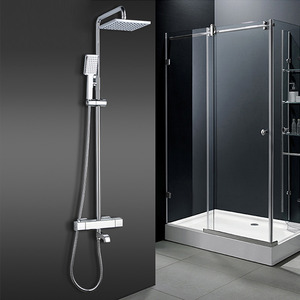 Square Shape Electroplated Brass Thermostatic Exposed Shower Faucets