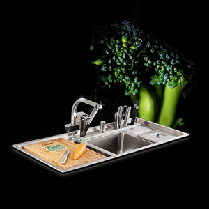 Best Double Sinks Stainless Steel Nickel Brushed Kitchen Sinks With Faucet