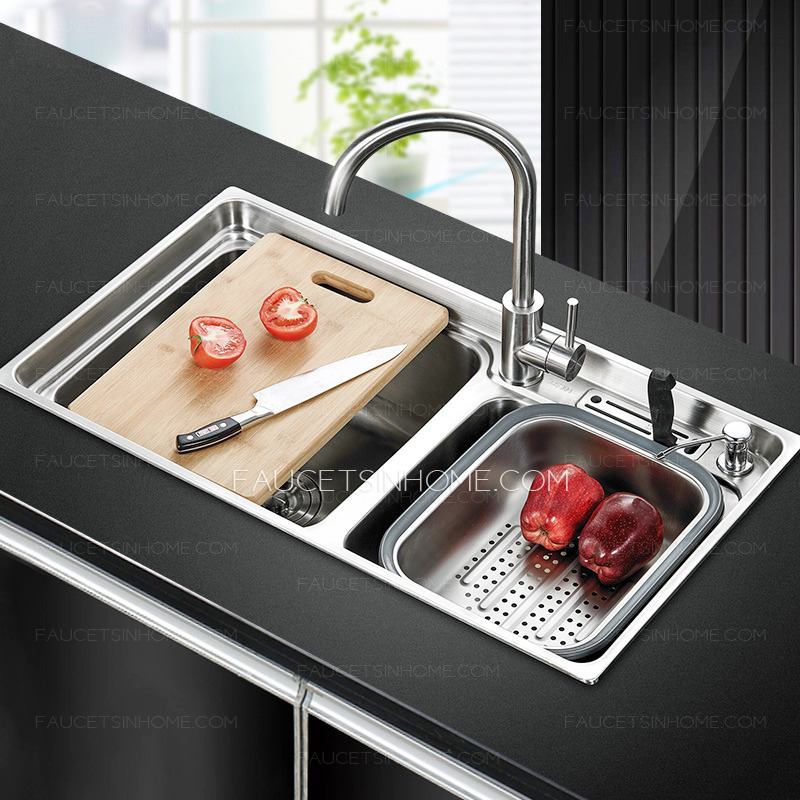 Practical Double Sinks Nickel Brushed Stainless Steel Kitchen