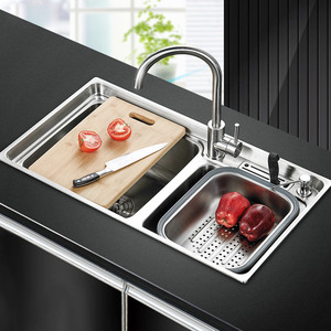 Practical Double Sinks Nickel Brushed Stainless Steel Kitchen Sinks With Faucet