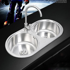 Nickel Brushed Stainless Steel Double Round Bowls Kitchen Sinks