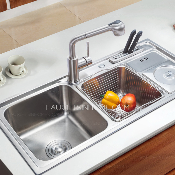 Stainless steel multi functional double sinks kitchen sinks for Best kitchen faucet for double sink