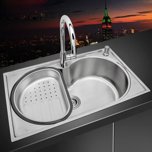 Single Bowl Large Capacity Stainless Steel Kitchen Sinks With Faucet