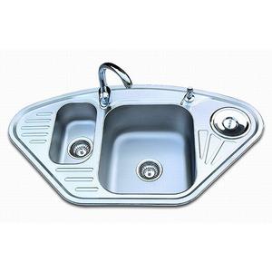 Double Sinks Fan Shaped Stainless Steel Kitchen Sinks Nickel Brushed