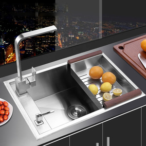Large Capacity Practical Single Bowl Stainless Steel With Faucet Nickel Brushed