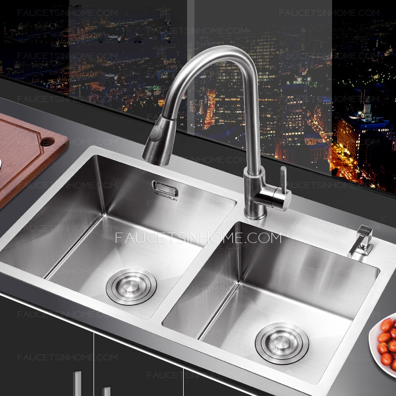 Nickel brushed stainless steel kitchen sinks double bowls for Best kitchen faucet for double sink