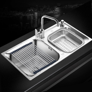Double Sinks Large Capacity Kitchen Sinks With Faucet Stainless Steel