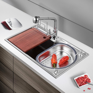 Kitchen Sinks Nickel Brushed Stainless Steel Single Bowl With Faucet
