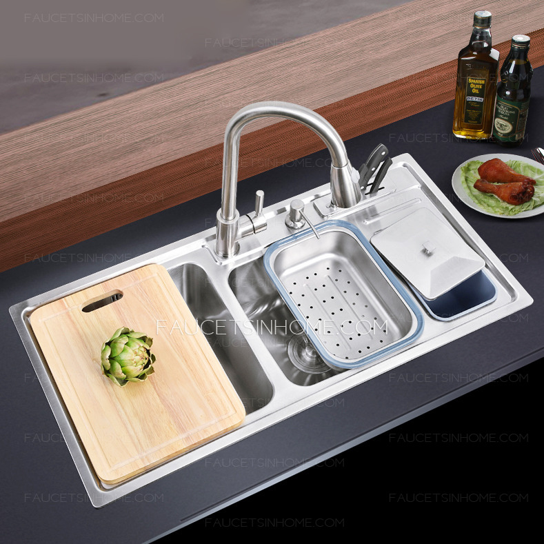 double sinks stainless steel kitchen sinks with pullout faucet