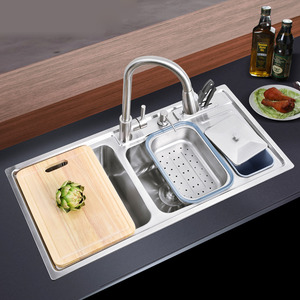 Multi-functional Double Sinks Stainless Steel Kitchen Sinks With Pullout Faucet