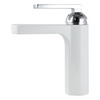 Modern White Painting Vessel Mount Waterfall Bathroom Sink Faucets