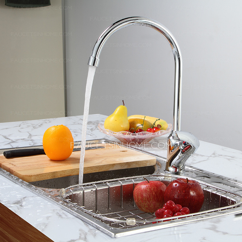 Modern Vessel Mount Single Handle Chrome Brass Kitchen Sink Faucets