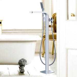 Best Floor Standing Electroplated Brass Shower Faucets With Hand Shower