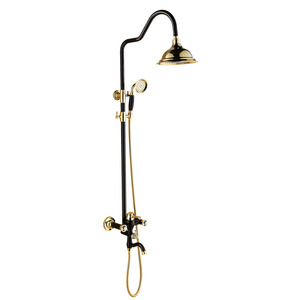 Vintage Polished Brass Black Shower Faucets For Bathroom