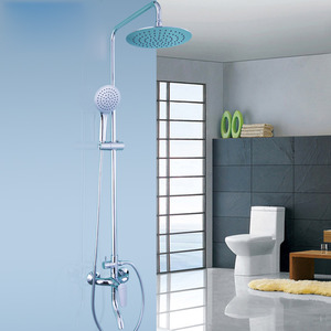 Durable Bathroom Shower Faucet System Silver Brass