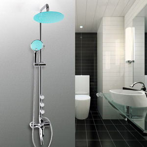 Modern Blue Top Shower Head Painting Chrome Types Of Shower Faucets