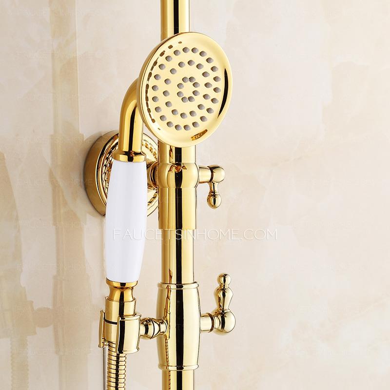 Vintage Polished Brass Shower Faucet Fixtures For Bathroom
