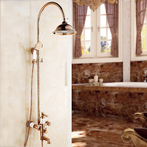 Luxury Rose Gold Single Handle Wall Mounted Shower Faucet