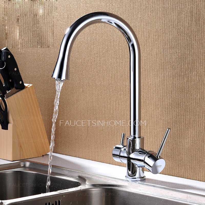 Best Chrome Two Handles Kitchen Sink Faucets For Bathroom