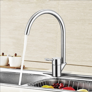 Goose Neck Shaped Stainless Steel Bathroom Faucets Brushed Nickel