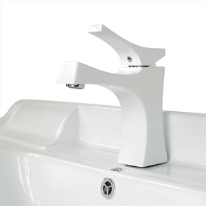 Stylish White Painting One Handle Brass Sink Faucet