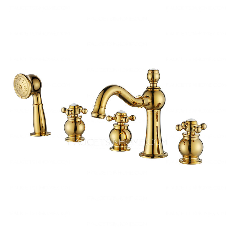 designer five holes polished brass three handle tub shower faucet