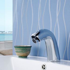 Plug In Chrome Brass One Handle Touchless Bathroom Faucet