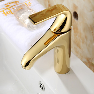 Smooth Polished Brass Gold Bathroom Faucets One Handle