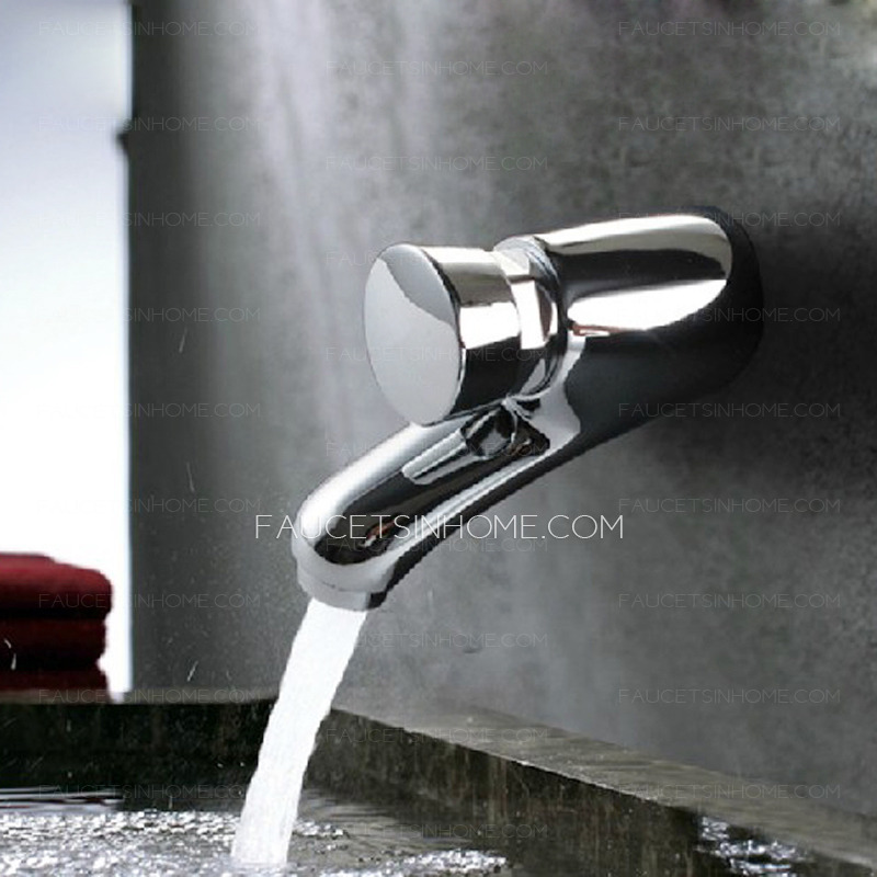 Simple Chrome Press Type Wall Mounted Bathroom Faucets