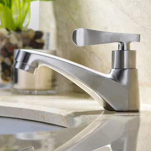 Modern Stainless Steel Nickel Brushed Bathroom Faucet Single Hole