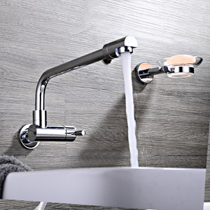 Affordable Wall Mount Brass Chrome One Handle Kitchen Faucet