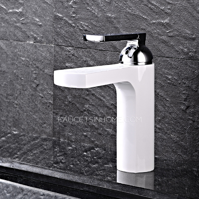 Stylish White Sink Faucet Painting Brass One Handle