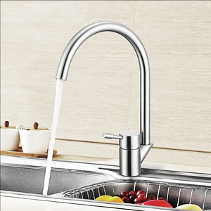 Good Rotatable Stainless Steel Kitchen Faucet Goose Neck Shaped