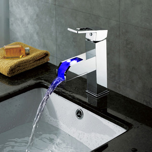 Practical Brass Waterfall Chrome LED Bathroom Sink Faucets