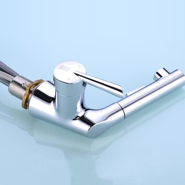 Designer Pull Out Chrome Single Hole Bathroom Faucet