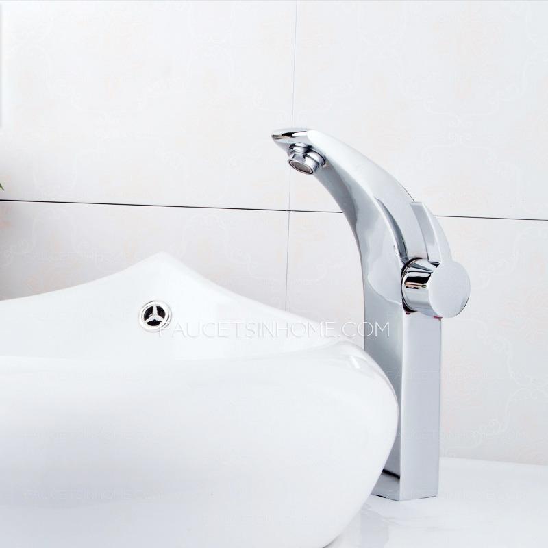 Designer Chrome One Handle Faucet Bathroom Brass