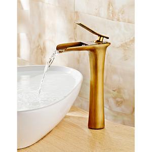 Practical Antique Brass One Handle Bathroom Sink Faucet