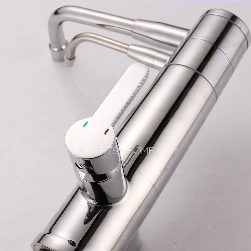 Filtering Dirty Two Spouts Brass Chrome  Kitchen Faucets On Sale
