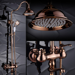 Vintage Rose Gold Retro Shower Fixtures System With Faucet Spout