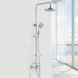 Modern Chrome Exposed Shower Faucets System ABS Top Shower